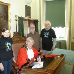 Devizes Mayor signing Fairtrade Towns Resolution