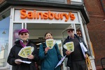 Devizes Fairtrade Group members asking Sainsbury's